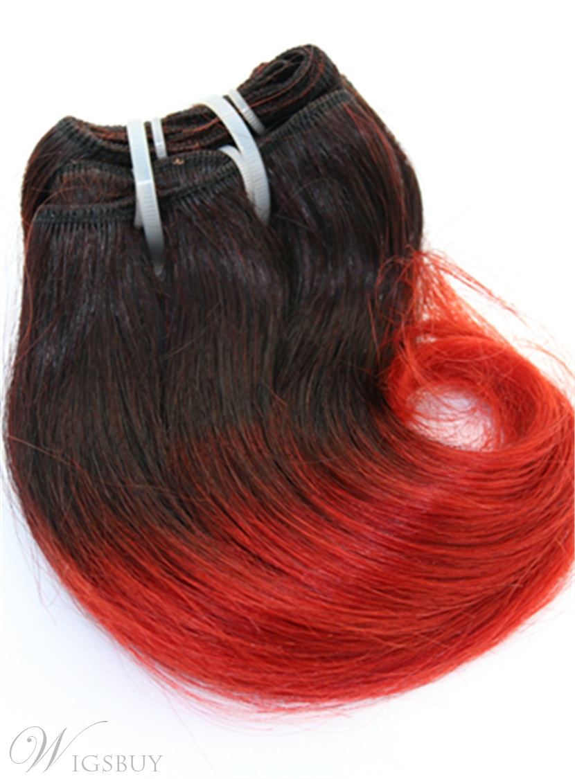 1B/Red Human Hair Short Straight Weave 8 Inches