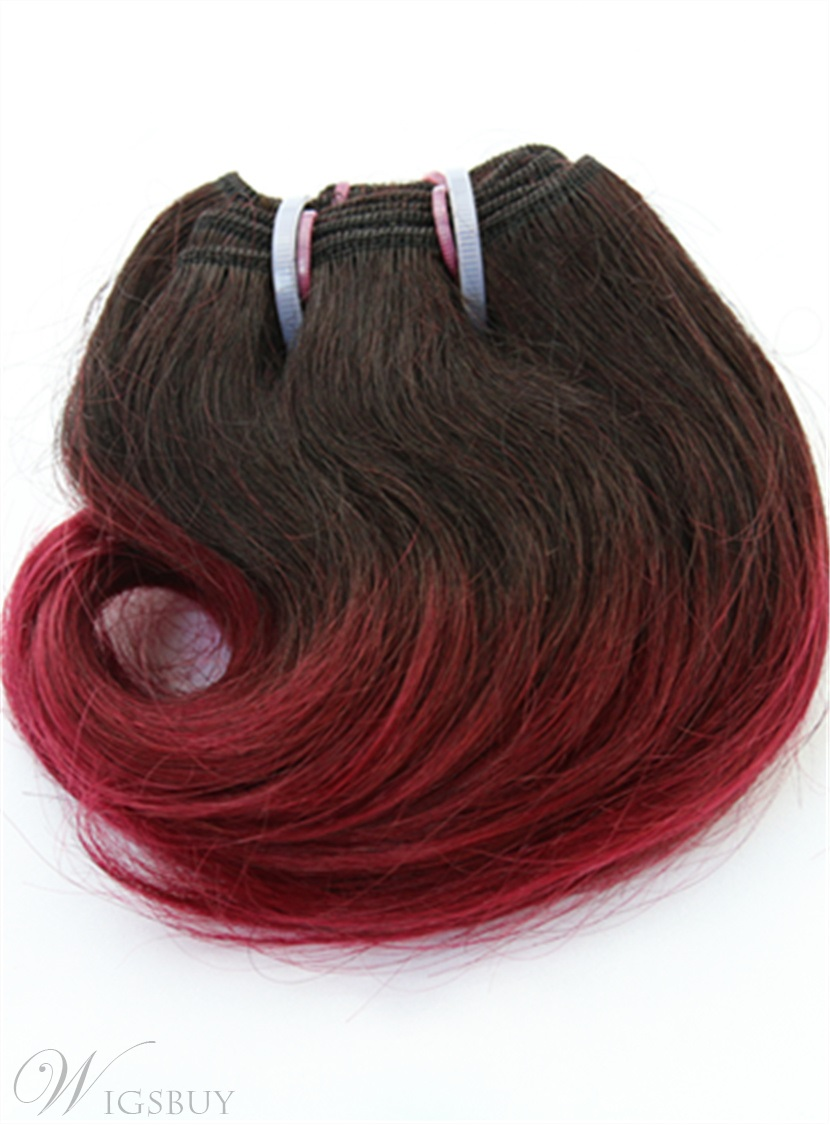 Dark Root With Wine Red Short Straight Human Hair Weave 8 Inches