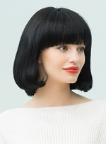 Mishair® Black Natural Medium Straight Bob With Bangs Hairstyle Human Hair Blend Capless Wigs 12 Inches