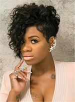 Hot Pixie One Side Part Short Messy Kinky Curly Synthetic Hair With Bangs Capless Cap Wigs 8 Inches