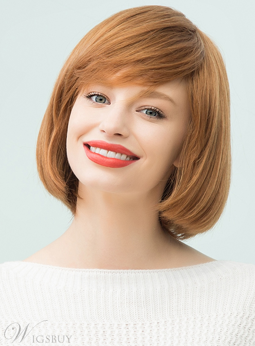 Mishair? Medium Straight Human Hair With Bangs Bob Style Capless Cap Wigs 12 Inches 12750533