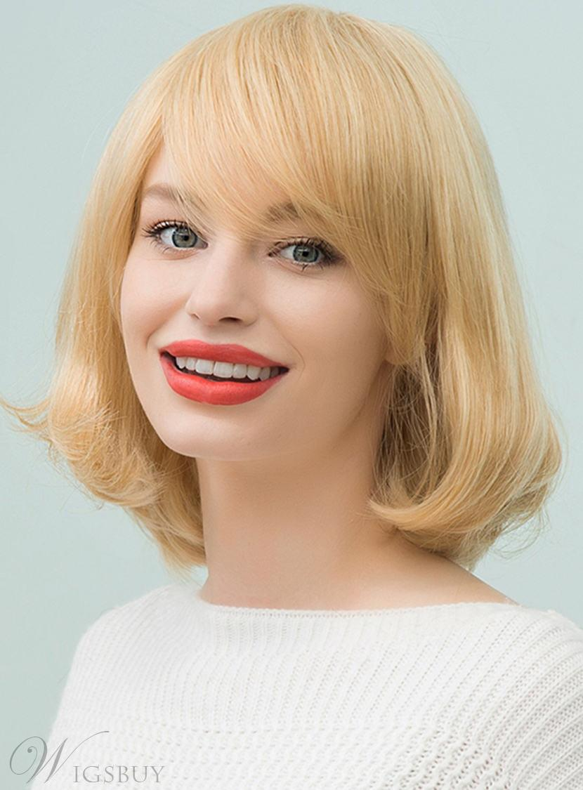 Mishair® Bob Medium Straight Human Hair With Bangs Capless Cap Wigs 12 Inches 12748845