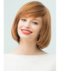 Mishair® Medium Straight Human Hair With Bangs Bob Style Capless Cap Wigs 12 Inches