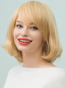 Mishair® Bob Medium Straight Human Hair With Bangs Capless Cap Wigs 12 Inches