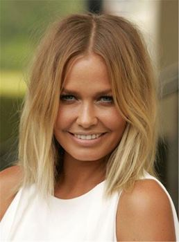 Blunt Cut Lob Brown Root Blonde Medium Straight Messy Synthetic Hair Lace Front Cap Wigs 12 Inches