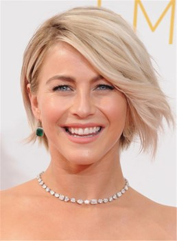 Julianne Hough Golden Side Swept Hairstyle Lace Front Human Hair Wig 10 Inches