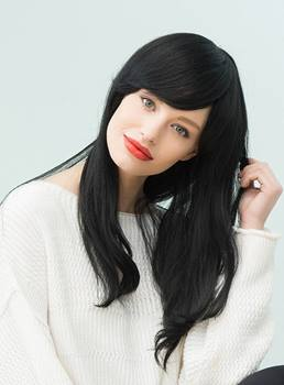 Mishair® Natural Black Long Straight Human Hair With Bangs Capless Cap Wigs 22 Inches