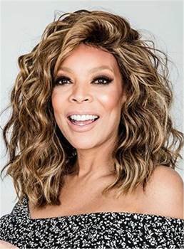 Wendy Williams Medium Messy Loose Curly Human Hair Lace Front Cap Wigs 14 Inches
