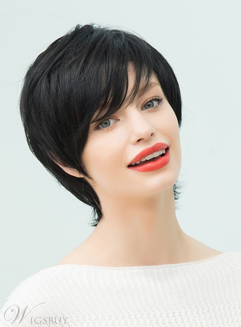Mishair? Natural Black Layered Short Straight Human Hair With Bangs Capless Cap Wigs 10 Inches 12751171