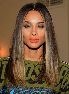 Ciara Hairstyles Blunt Cut Medium Straight Center Part Human Hair Lace Front Cap Wigs 16 Inches