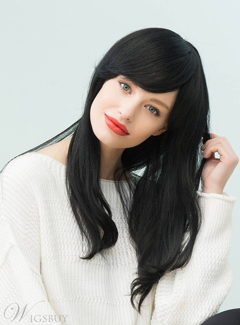 Mishair? Natural Black Long Straight Human Hair With Bangs Capless Cap Wigs 22 Inches 12748843