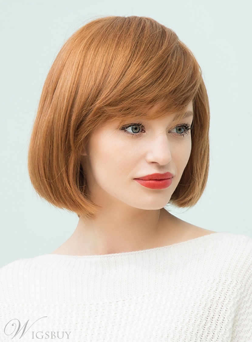 Awesome Mishair Medium Straight Human Hair With Bangs Bob Style Capless Short Hairstyles Gunalazisus