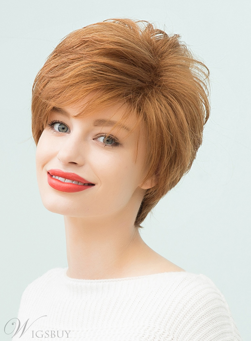 Mishair® Elegant Loose Messy Blonde Layered Short Straight Human Hair With Bangs Capless Cap Wigs 10 Inches