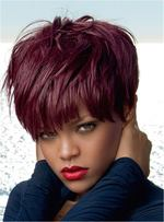 Rihanna Red Pixie Layered Short Straight Human Hair With Full Bangs Capless Cap Wigs 6 Inches
