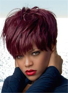 Rihanna Pixie Short Straight Human Hair Capless Wigs 6 Inches