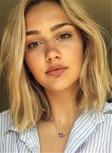 Loose Center Part Lob Messy Wave Blonde Synthetic Hair Lace Front Cap Wigs 14 Inches