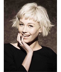 Short Choppy Bob With Bangs Synthetic Hair Capless Wigs 8 Inches