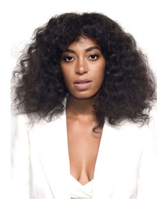 Blunt Cut Solange Natural Black Loose Kinky Curly Center Part Medium Synthetic Hair Capless Cap Wigs 14 Inches