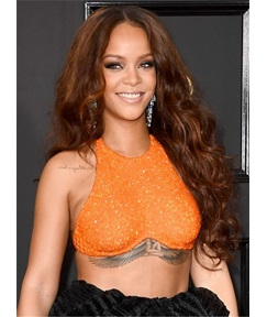 Rihanna Long Loose Wave Synthetic Lace Front Middle Parting Fringe Wigs 30 Inches