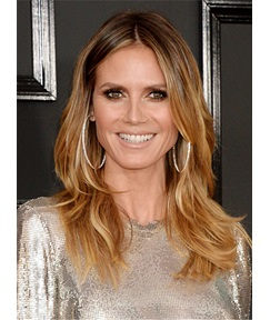 Heidi Klum Mid-length Layered Hairstyle Human Hair Lace Front Wigs 16 Inches