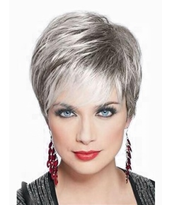 Mixed Color Short Straight Capless Wigs High Quality With Bangs Human Hair 10 inch