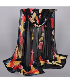 Butterfly Printed Splendid Chiffon Sunscreen Scarf