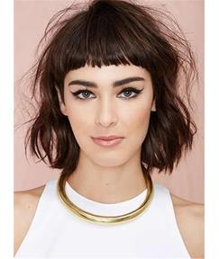 Messy Blunt Cut Medium Synthetic Hair With Straight Full Bangs Capless Cap Wigs 10 Inches