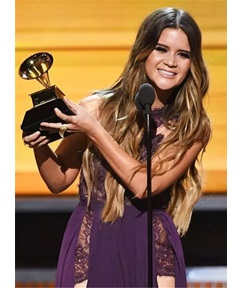 Maren Morris Long Loose Wave Middle Parting Synthetic Lace Front Wigs 30 Inches