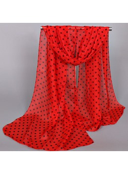Small Dots Printed Thin Chiffon Scarf