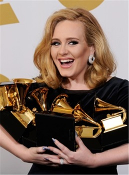 Adele Grammys Side Parting Slight Wave Full Lace Human Hair Wigs 12 Inches