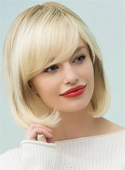 Mishair® Sweet Shaggy Bob Medium Straight Human Hair Blend Hair Capless Wigs 12 Inches