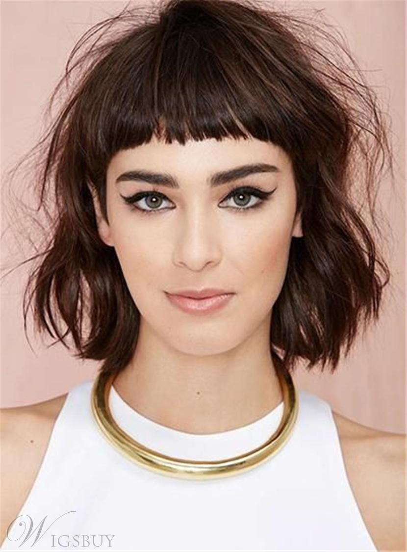 Messy Blunt Cut Medium Synthetic Hair With Straight Full Bangs Capless Cap Wigs 10 Inches 12764011