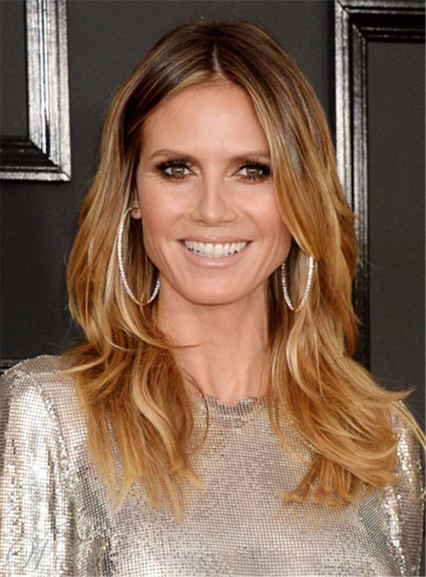 Heidi Klum Mid Length Layered Hairstyle Human Hair Lace Front Wigs 16 Inches M Wigsbuy Com