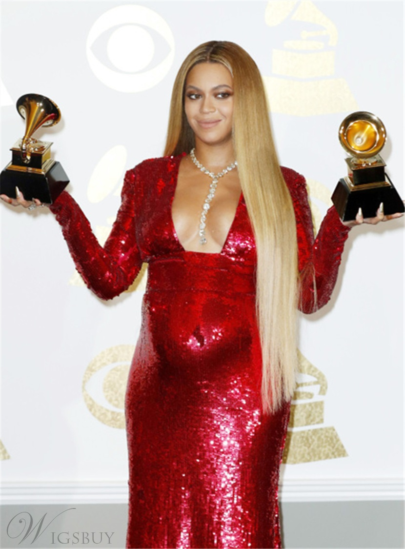 Beyonce Long Straight Synthetic Middle Parting Fringe Lace Front Wigs 30 Inches