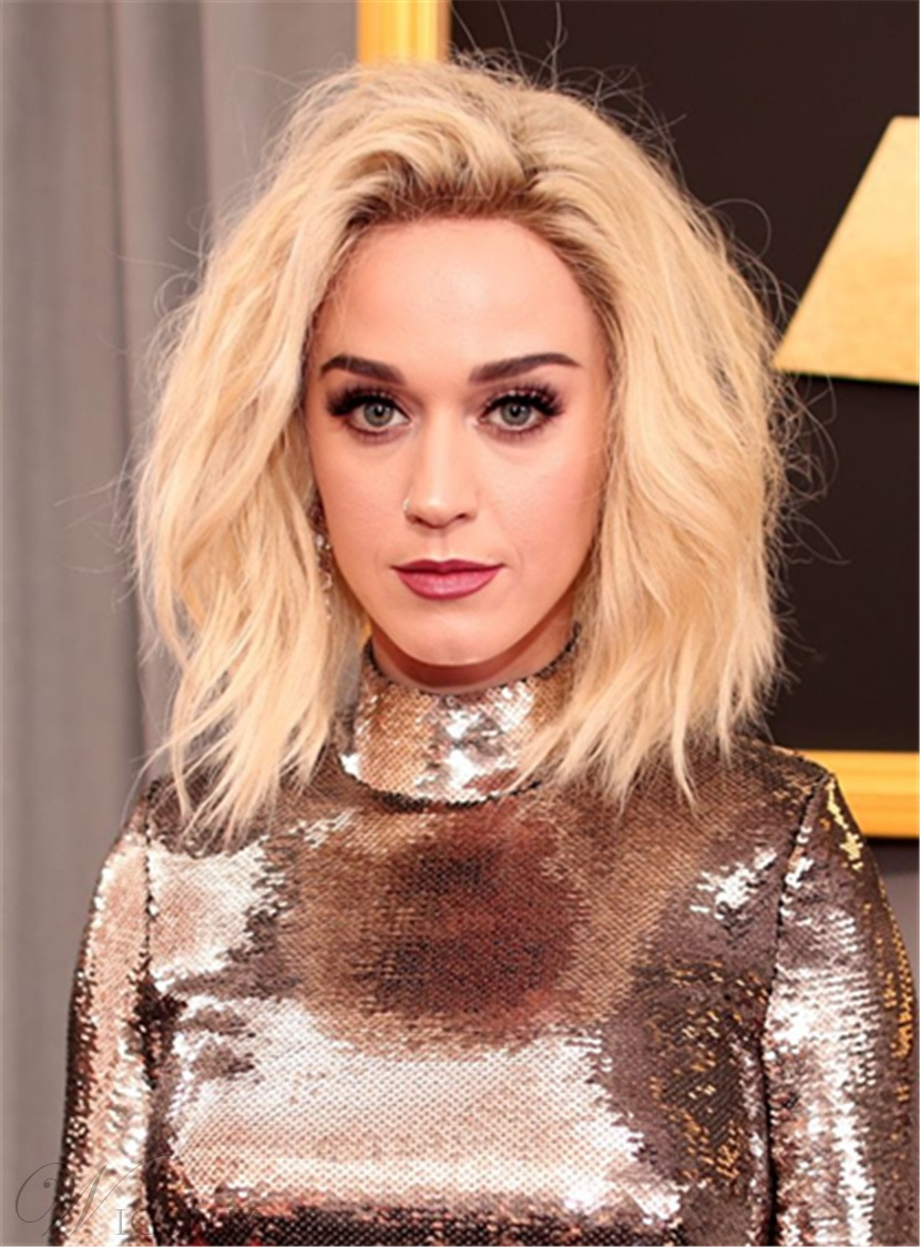 Katy Perry Hairstyle Mid-length Wavy Human Hair Full Lace Women Wigs 12 Inches