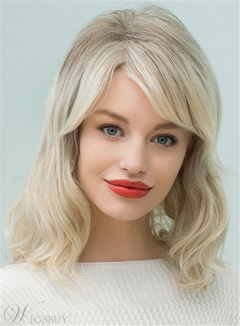Mishair® Mid-Length Nature Wavy Side Part Human Hair Blend Capless Wigs 16 Inches