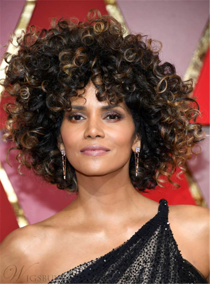 Halle Berry Mixed Color Kinky Curly Synthetic Hair With Bangs Medium Tight Coils Capless Cap Wigs 12 Inches 12