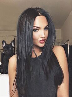 Sexy Natural Black Center Part Layered Cut Long Straight Synthetic Hair Lace Front Cap Wigs 18 Inches
