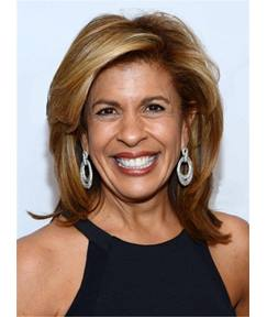 Hoda Kotb Loose Blonde Layered Medium Straight One Side Part Synthetic Hair Lace Front Cap Wigs 14 Inches
