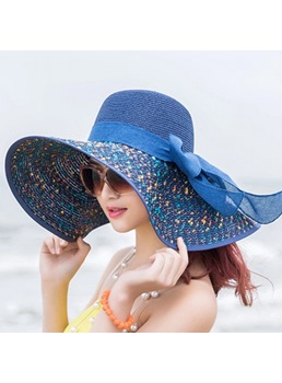 Graceful Wide Brim Bowknot Embellished Sun Hat