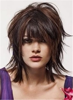 Attractive Straight Layered Haircut Synthetic Hairstyle With Bangs Capless Wigs 12 Inches