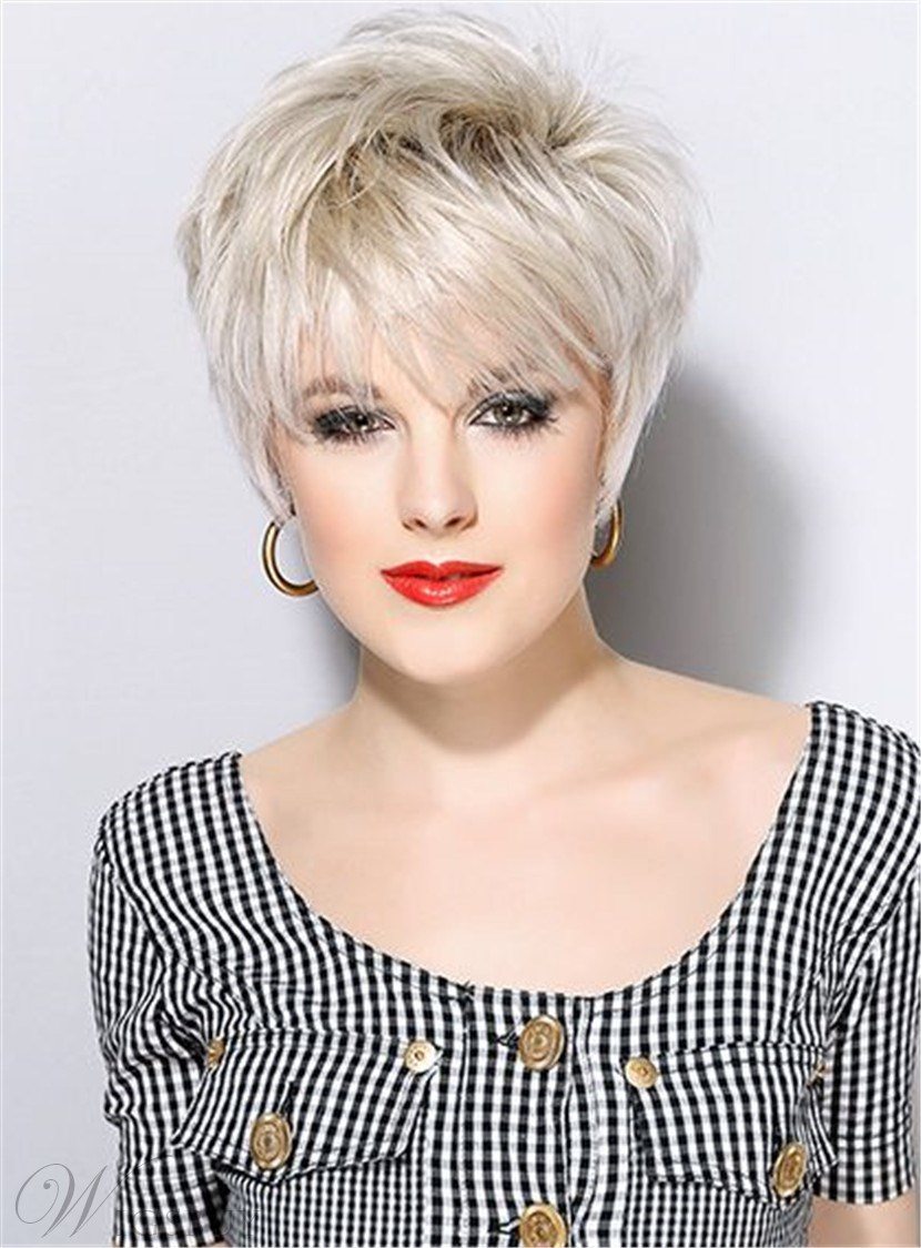 Short Haircuts Full Bangs Straight Synthetic Hair Capless wig 8 Inches 12769931