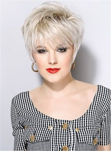 Short Haircuts Full Bangs Straight Synthetic Hair Capless wig 8 Inches