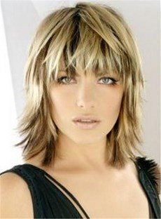 Bangs Layered Blonde Haircut Straight Synthetic Hair Capless Wig 12 Inches