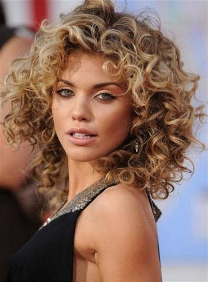 Shoulder Length Human Hair Deep Curly Capless Women Wigs 14 Inches