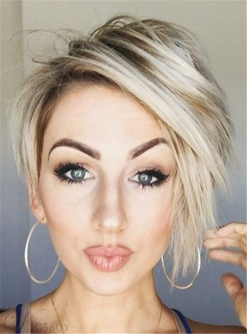 Pixie Haircut Short Straight Synthetic Lace Front Wigs 8 Inch
