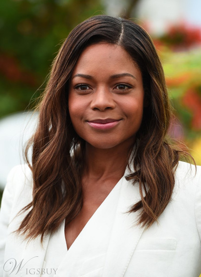 Naomie Harris Blunt Cut Ombred Root Dark Medium Wave Human Hair Lace Front Cap Wigs 16 Inches