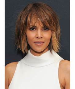 Halle Berry Messy Blunt Cut Lob Mixed Color Short Straight Synthetic Hair With Bangs Capless Cap Wigs 10 Inches