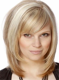 Nature Bob With Bangs Hairstyle Straight Synthetic Hair Capless Wig 12 Inches