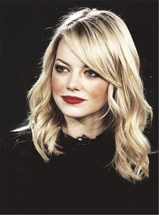 Emma Stone Glod Long Wavy Side Part Capless Synthetic Hair Wig 14 Inches